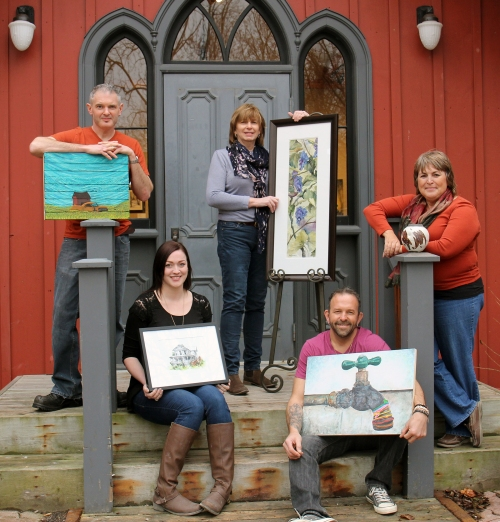 Some of my artist friends outside the Station Arts Centre.