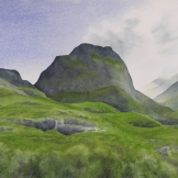 "HIghland Afternoon II. Watercolour on Paper. 11x15"". Lianne Todd. Collection the artist."