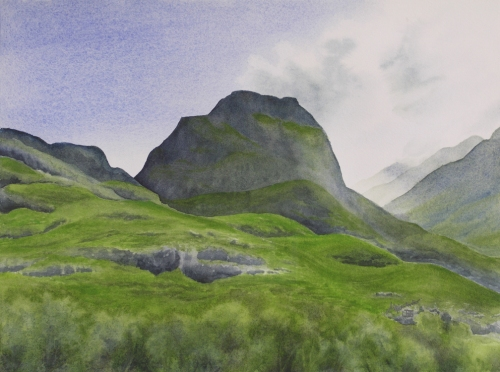 "HIghland Afternoon II. Watercolour on Paper. 11x15"". Lianne Todd"