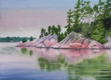 "Blue Lake and Rocky Shore IV. Watercolour on paper. 22x30"". Lianne Todd."