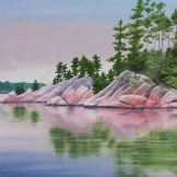 "Blue Lake and Rocky Shore IV. Watercolour on paper. 22x30"". Artist Lianne Todd. $950.00"