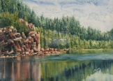 "Hiking Around Horne Lake. Watercolour on Gessoed Paper. 11x15"". Lianne Todd"
