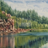 "Hiking Around Horne Lake. Watercolour on Gessoed Paper. 11x15"". Lianne Todd. SOLD. Private Collection."