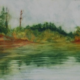 "On Serpent River. Watercolour on gessoed paper. 7.5x22"". Artist Lianne Todd. SOLD Private collection."