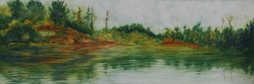 "On Serpent River. Watercolour on gessoed paper. 7.5x22"". Lianne Todd. $280"