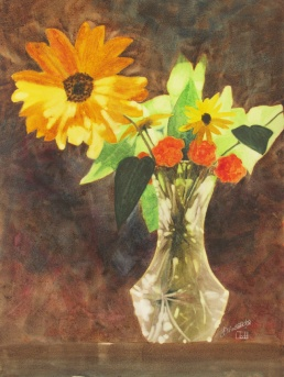 "Backlit Beauties. Watercolour on Gessoed Paper. 11x15"". Lianne Todd. $280."
