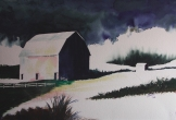 "Future Memory of a Barn. Watercolour on Paper. 15x22"". Lianne Todd. $450"