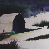 "Future Memory of a Barn. Watercolour on Paper. 15x22"". Artist Lianne Todd. $475."