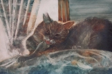 "Grooming in Comfort. Watercolour on Gessoed Paper. 15x22"". $450.00. Artist Lianne Todd."