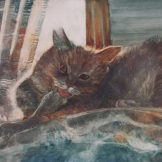 "Grooming in Comfort. Watercolour on Gessoed Paper. 15x22"". $475.00. Artist Lianne Todd."
