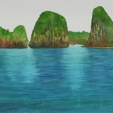 "Islands of Thailand. Watercolour on Gessoed paper. 9.5x17"". Artist Lianne Todd. $295."