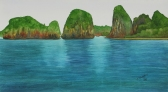 "Islands of Thailand. Watercolour on Gessoed paper. 9.5x17"". Lianne Todd. $280"