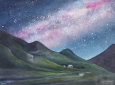 "Under the Milky Way Tonight. Watercolour on paper. 22x30"". Collection of the Artist - Lianne Todd."