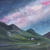 """Under the Milky Way Tonight. Watercolour on paper. 22x30"""". Collection the Artist - Lianne Todd."""