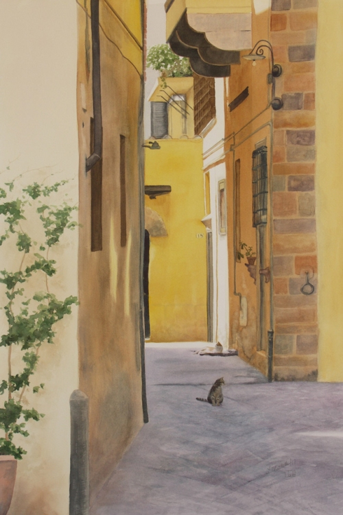 Cats on the streets of Lucca, watercolour painting