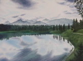"Fourth Lake, Jasper. Watercolour on Paper. 11x15"". Artist Lianne Todd. $295.00"