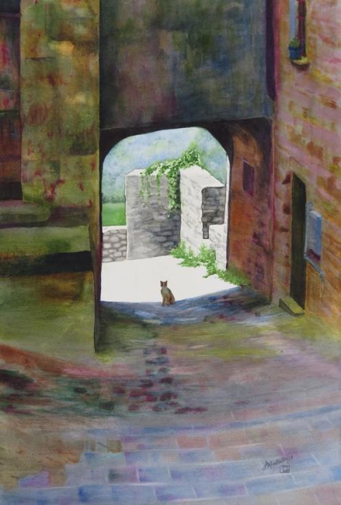 "Cat of Monte Dei Bianchi. Watercolour on Paper. 15x22"". Artist Lianne Todd. $450.00"