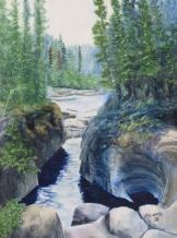 """Canyon Creation, Jasper. Watercolour on Gessoed Paper. 11x15"""". Artist Lianne Todd. SOLD. Private collection."""