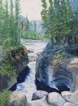 "Canyon Creation, Jasper. Watercolour on Gessoed Paper. 11x15"". Artist Lianne Todd. $280.00"