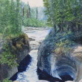 "Canyon Creation, Jasper. Watercolour on Gessoed Paper. 11x15"". Artist Lianne Todd. SOLD. Private collection."