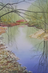 """Quiet Pond. Watercolour on Paper. 15x22"""". Artist Lianne Todd. SOLD. Private Collection."""