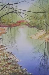"Quiet Pond. Watercolour on Paper. 15x22"". Artist Lianne Todd. $450.00."