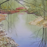 "Quiet Pond. Watercolour on Paper. 15x22"". Artist Lianne Todd. SOLD. Private Collection."