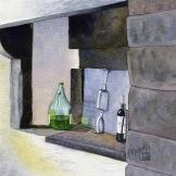 """Kitchen Alcove, Il Convente dei Carmine. Watercolour on Paper. 6.25x6.25"""". Artist Lianne Todd. SOLD. Private Collection."""