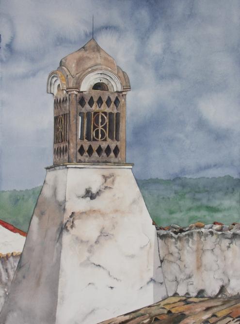 "Moorish Chimney #1. Watercolour on Paper. 22x30"". Artist Lianne Todd"