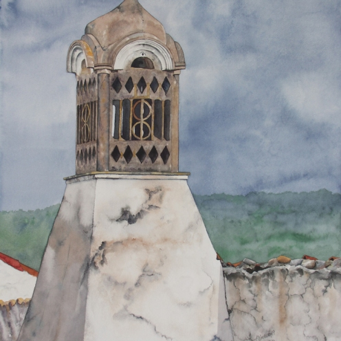 "Moorish Chimney #1. Watercolour on Paper. 22x30"". Artist Lianne Todd. $950.00"