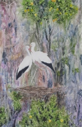 "Their Own Little Paradise. Watercolour on Yupo. 13x20"". Artist Lianne Todd. $475.00."