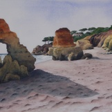 "Olhos d'Agua Beach, looking North. Watercolour on Paper. 14x20"". Artist Lianne Todd. $500.00"