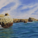 "Algarve Coastline. Watercolour on Paper. 15x22"". Artist Lianne Todd. $500.00"
