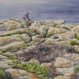 "Fisherman at the ""Edge of the World"". Watercolour on Paper. 15x22"". Artist Lianne Todd. $500.00"