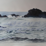 "Surf's Up. Watercolour on Paper. 14x20"". Artist Lianne Todd. $500.00"