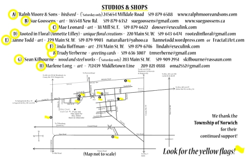 Map of Welcome Back to Otterville Studio Tour 2019